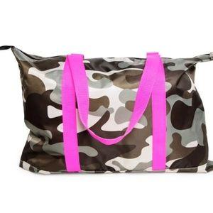 Handbags - Camo duffle bag with hot pink straps